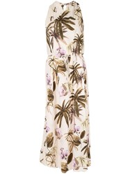 Vince Mixed Tropical Garden Dress Brown