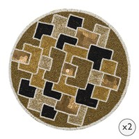 Amara Geometric Beaded Placemats Set Of 2