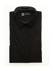 Simon Carter Poplin Regular Fit Gingham Trim Shirt Black