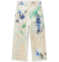 Sasquatchfabrix. Paint Splattered Wide Leg Cotton Blend Twill Trousers White