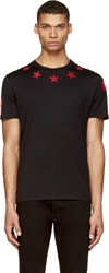 Givenchy Black And Red Star Jersey T Shirt