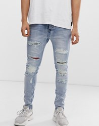 Sixth June Super Skinny Jeans In Blue With Multi Print Distressing