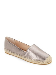 French Connection Sammy Metallic Leather Espadrille Flats Pewter