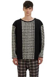 Aganovich Houndstooth Tweed Panelled Sweater Black