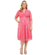 Kiyonna Mademoiselle Lace Dress Coral Blush Women's Dress Pink