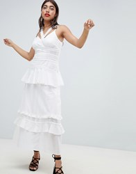 Lost Ink Cami Maxi Dress With Ruffle Layers In Crochet Mix Fabric White