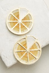 Anthropologie Sliced Lemon Hoop Earrings Yellow Motif