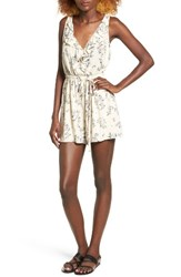 Lush Women's Floral Print Ruffle Romper Taupe Cream