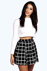 Boohoo Check Textured Box Pleat Skater Skirt Black
