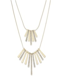 Inc International Concepts Gold Tone Pave Crystal Metal Fringe High Low Necklace Only At Macy's