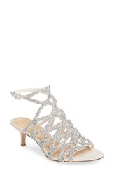Imagine By Vince Camuto Women's Kami Glitter Cage Sandal Silver Ivory Satin