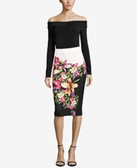 Eci Floral Print Colorblocked Skirt Black Multi