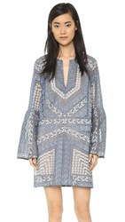 Bcbgmaxazria Victorian Lace Collage Dress Deep Chambray Combo
