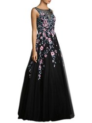 Basix Black Label Sleeveless Embroidered Floor Length Gown Black
