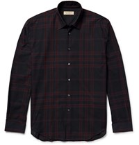 Burberry Slim Fit Checked Cotton Twill Shirt Black