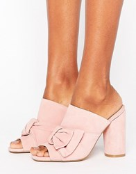 Kg By Kurt Geiger Keiger Jessika Pink Suede Bow Heeled Mules Pink Suede