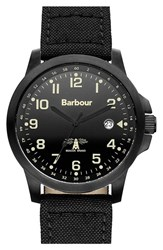 Men's Barbour 'Heritage' Fabric Strap Watch 44Mm