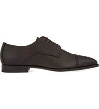 Corneliani Mantova Grained Leather Derby Shoes Dark Brown
