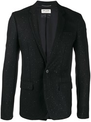 Saint Laurent Pinstriped Thread Blazer Black