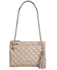 Calvin Klein Quilted Pebble Leather Triple Compartment Crossbody Metallic Taupe