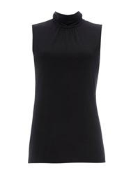 Wallis Black Sleeveless Polo Neck