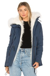 Sam. Mini Luxe Parka With Fox Fur And Asiatic Raccoon Fur Blue