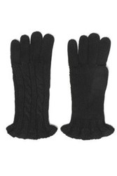 Autumn Cashmere Ruffle Trimmed Cable Knit Gloves Black