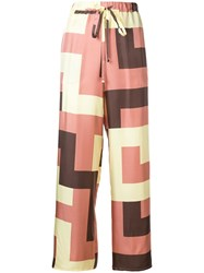 Alysi Geometric Print Trousers Pink