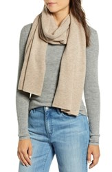 Halogen Solid Cashmere Scarf Beige Oatmeal Dark Heather