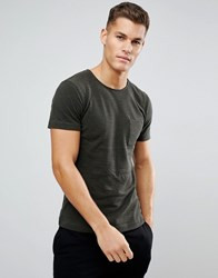 Tom Tailor T Shirt In Khaki Pique With Pocket 7807 Green
