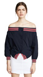 Monse Nylon Upside Down Jacket Navy