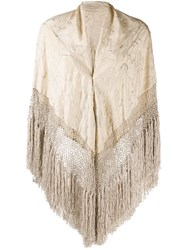 Forte Forte Fringed Cape Scarf Neutrals