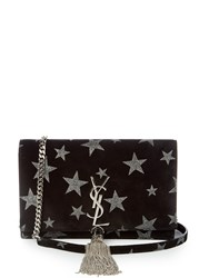 Saint Laurent Kate Small Star Embellished Suede Cross Body Bag Black Silver