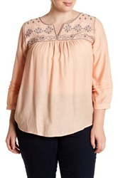 Blu Pepper Embroidered Long Sleeve Blouse Plus Size Orange