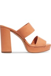 Mansur Gavriel Leather Platform Mules Neutral