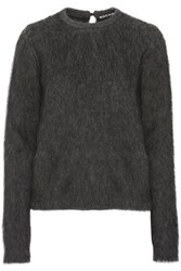 Rochas Leopard Print Paneled Faux Fur Sweater Charcoal