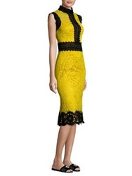 Dolce And Gabbana Contrast Trim Lace Sheath Dress Yellow Black