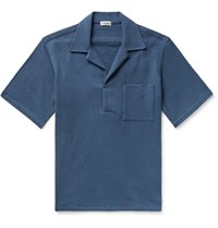 Camoshita Skipper Camp Collar Cotton Terry Shirt Blue