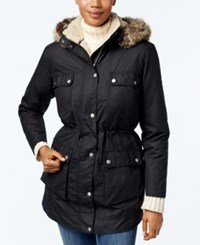 Barbour Carribena Wax Faux Fur Hooded Parka Navy