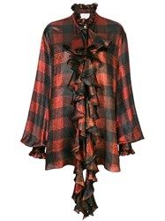 Redemption Checked Ruffle Blouse Red