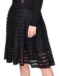 Miss Selfridge Cotton Blend Circular Lace Midi Skirt Black