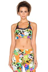Trina Turk Pop Floral Mesh Back Sports Bra Orange