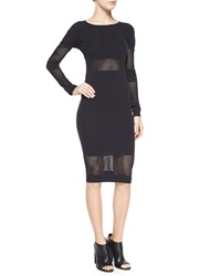 Mcq By Alexander Mcqueen Long Sleeve Striped Mesh Body Conscious Midi Dress