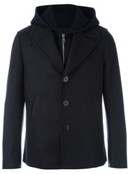 Neil Barrett Layered Hooded Coat Blue