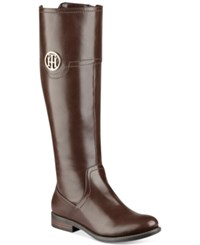 Tommy Hilfiger Silvana Wide Calf Riding Boots Women's Shoes Brown