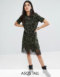Asos Tall T Shirt Dress With Lace Inserts In Leopard Print Multi