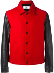 Ami Alexandre Mattiussi Bimaterial Bomber Jacket Men Leather Virgin Wool Polyimide S Red
