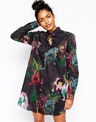Sportmax Code Shirt Dress In Monkey Print Multi