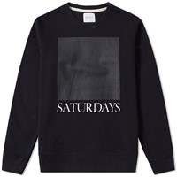 Saturdays Surf Nyc Bowery Chest Square Crew Sweat Black