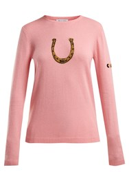 Bella Freud Horseshoe Cashmere Blend Sweater Pink